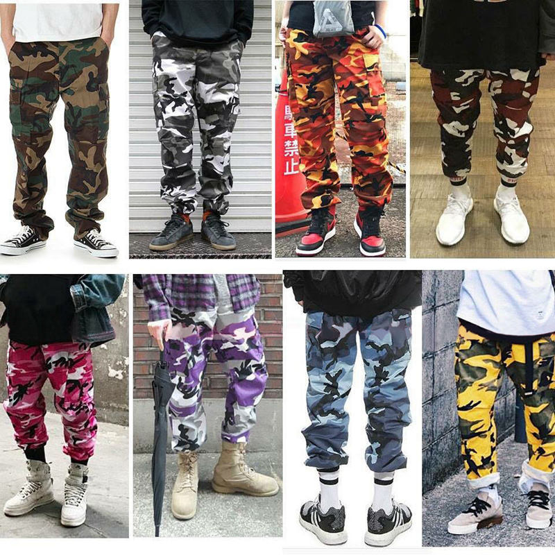 Men 7 Color High Street Casual Pockets Pants Camouflage Cargo Pants Baggy Tactical Trouser Cotton Fashion Sweatpants