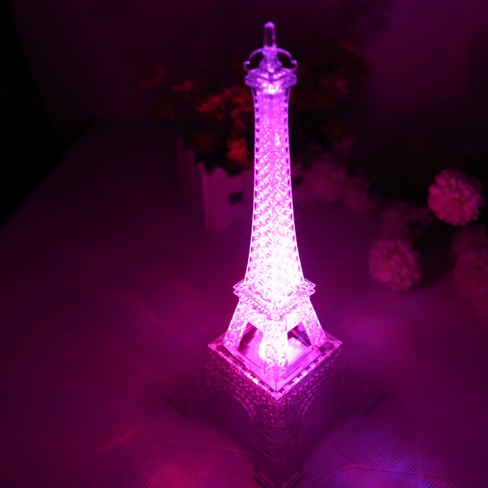 Большой Размеры Цвет Изменяемая Эйфелева башня лампы прозрачный Эйфелева лампа Дети башня ночник украшения Эйфелева башня Лампы для мотоц...