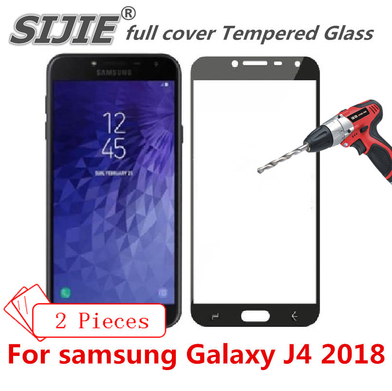 2 pcs full cover Tempered Glass For samsung Galaxy J4 2018 J 4 J400 J400F Screen protective