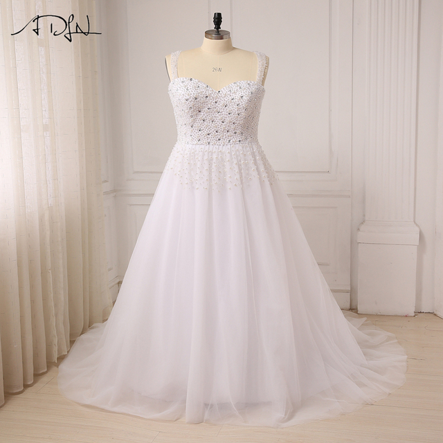 ADLN Plus Size Wedding Dresses Cap Sleeve Beaded Pearls Sweep Train Bridal  Gowns for Big Women 4b34e8606aad