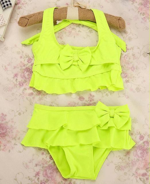 New 2019 Two-Piece Grils Swimwear Rose,Green,Yellow Solid Cute Children Girls Summer Swimsuit Beachwear Swimming G36-K386