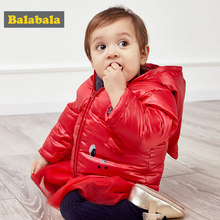 Balabala Baby Hooded Jacket Infant Newborn Baby Girls Boys Down Jacket Winter Jackets with Cute Cartoon Design Coats Clothes(China)