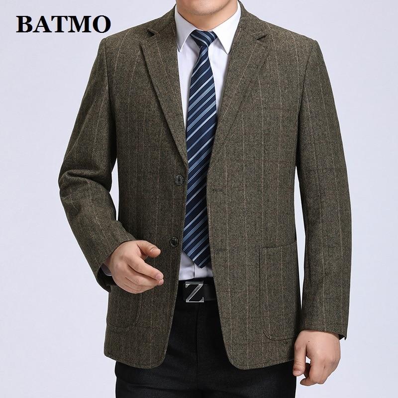 Erkek Kıyafeti'ten Blazerler'de Batmo 2019 yeni geliş yüksek kalite yünü akıllı ekose casual blazer erkekler, erkek rahat takım elbise, erkek ceketler artı boyutu S 3XL 606'da  Grup 1