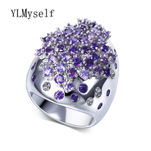 Fashion Colorful Crystal Large rings for party anillo anel feminino with AAA Cubic zirconia stones Trendy Jewelry for women
