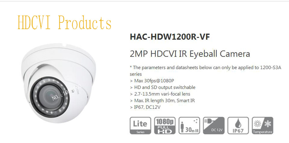 все цены на Free Shipping Original English DAHUA Security Camera CCTV 2MP HDCVI IR Eyeball Digital Video Camera without Logo HAC-HDW1200R-VF онлайн