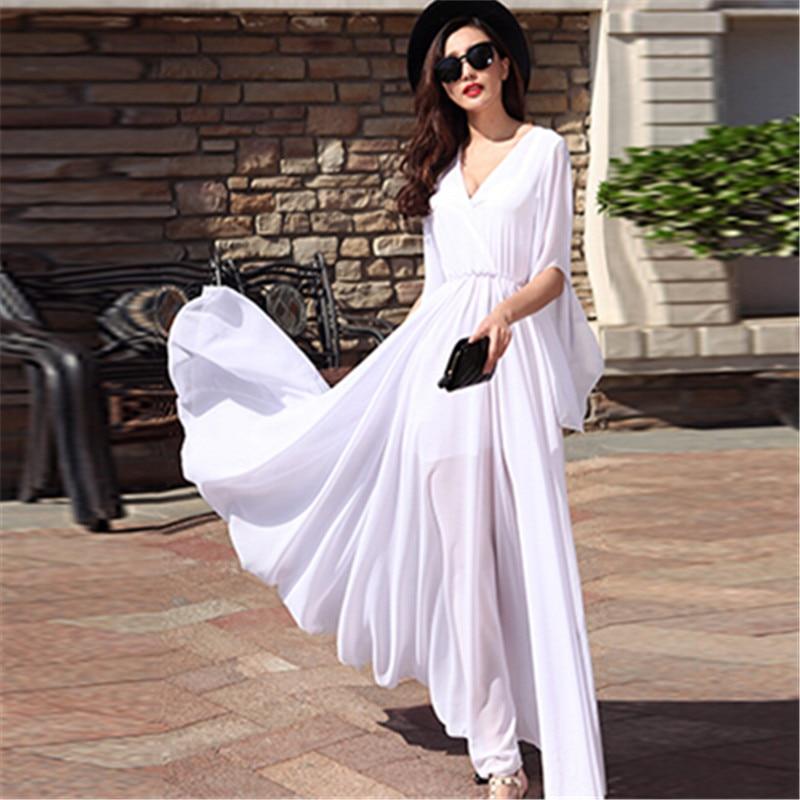 WBCTW White Maxi Long Half Flare Sleeve Autumn Dress Women Plus Size Sexy Floor-length Chiffon Boho Beach Vintage Dress long sleeve printed floor length plus size dress