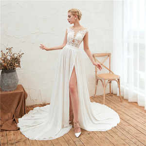 Image 5 - 2019 חוף חתונת שמלת תחרה Boho כלה שמלה שווי שרוולי סדק צד קו שיפון חתונת שמלת Vestido דה Noiva חלוק דה Mariee