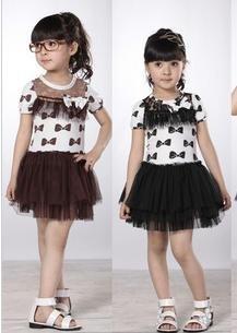 2012 Newest Spring Girl dress children dress kids dress with brown black color