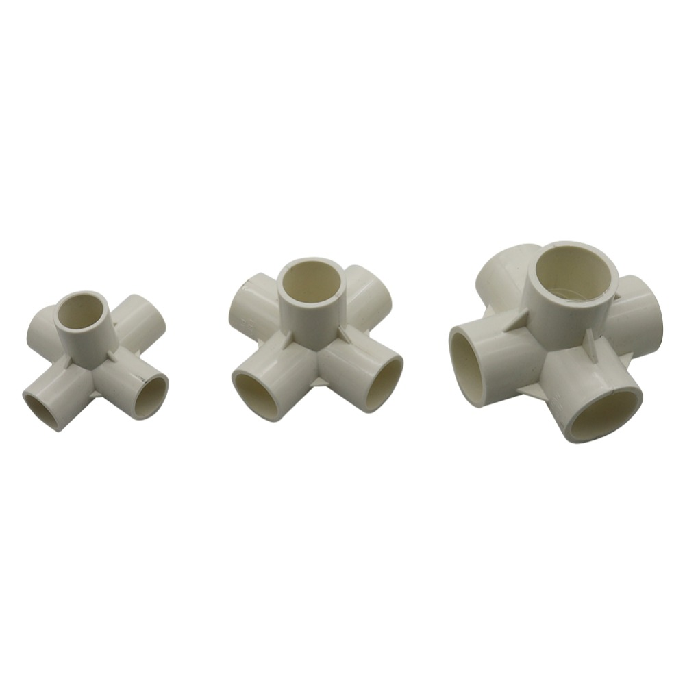 1PC Three-Dimensional Five way Splitter Connector Inside Diameter 20mm,25mm,32mm PVC Pipe Fittings Home Garden Irrigation Tool