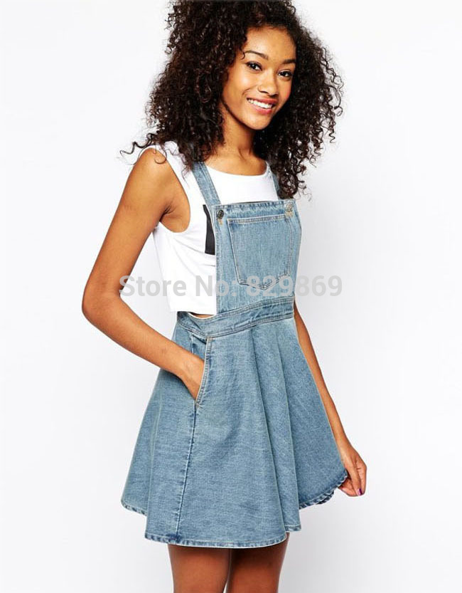 6cb36a3eb3 Newest Celebrity 2015 Summer Vintage Women Washed Casual Blue Denim Overall  Jumper Dress Skater Jean -in Dresses from Women s Clothing on  Aliexpress.com ...