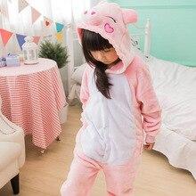 Kid Pig Cosplay Kigurumi Onesies Child Cartoon Winter Anime Unicorn Tiger Jumpsuit Costume For Girl Boy Animal Sleepwear Pajamas