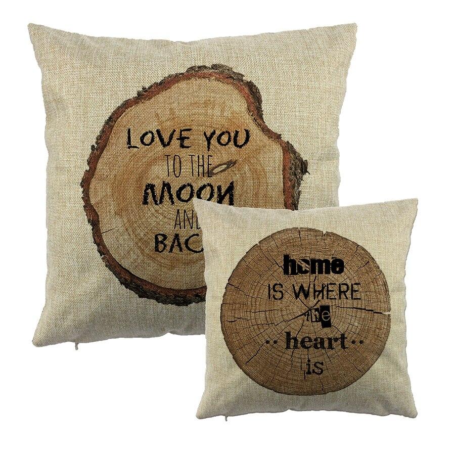 Arbre croissance anneau avec lettre imprimé coton housse de coussin en bois naturel Design Liene taie d'oreiller décoration cadeau