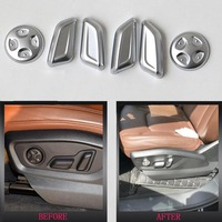 TTCR II 6 PCS Car Accessories Adjustment Turning Seat Adjust Button Cover Trim Chrome Button Stickers ABS For Audi Q7 2016 2017