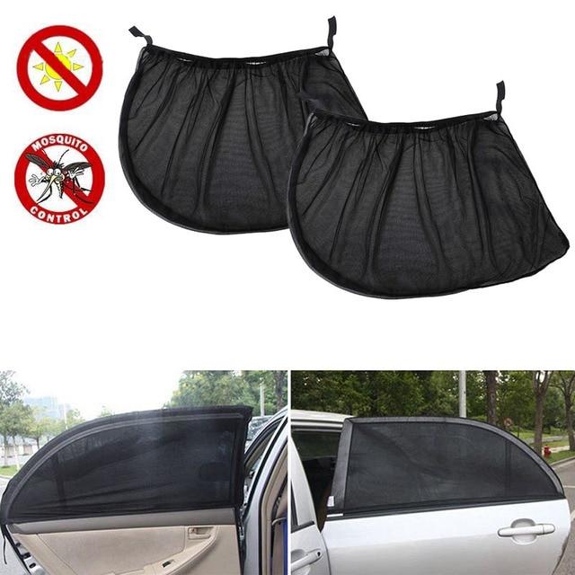 2 adet araba güneş siperliği arka yan pencere güneş gölge örgü kumaş güneşlik gölge kapak kalkanı UV koruyucu siyah otomatik güneşlik perde