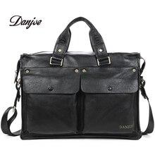 DANJUE Men Genuine Leather Briefcase Businessman HandBags Brand Cowhide 14 inch Laptop travel High Quality Shoulder Bag New