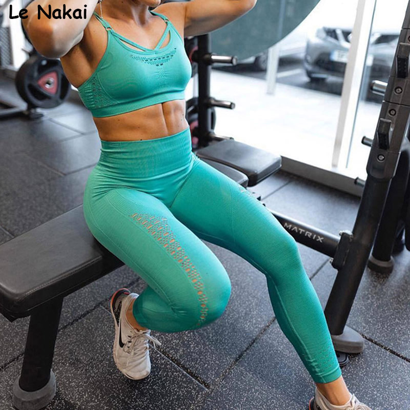 2 PCS Energy seamless yoga set workout clothes for women fitness gym clothing active wear gym suit scrunch butt leggings 1