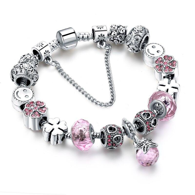 000e4c6021e Fashion Jewelry Pink Charm Bracelets Women 925 Silver Crystal Heart  Bracelets & Bangles Pulseria DIY Jewelry SBR160294