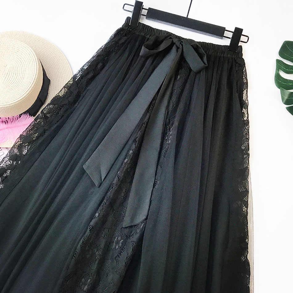 2019 New high waist Korea style Lace skirts Bow Harajuku Skirts solid Loose skirt Plus Size Japanese school uniform dropshipping