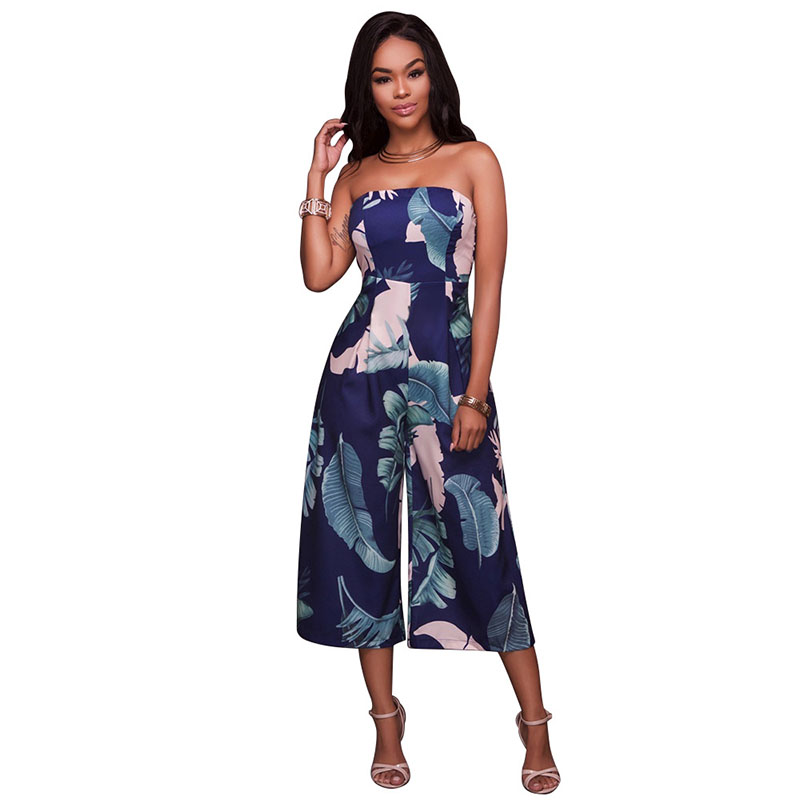 Women Sexy Strapless Floral Print Loose Jumpsuit Fashion Sleeveless Women's Long Rompers Play-suit Calf Length Pants Overalls LB