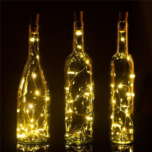 10pcs 2M 20leds Wine Bottle Cork Copper wire Starry Rope Fairy String Lights for Christmas Wedding Birthday Party DIY Home Decor