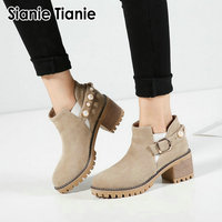 Sianie Tianie new chunky square heels woman winter autumn shoes anti skid platform women chelsea ankle boots with studded pearls