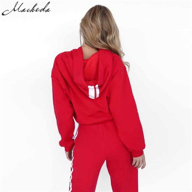 2 Piece Set Women Tracksuit Sportswear Casual White Red Sweat Pants Hooded Cropped Sweatshirt Hoodie 5