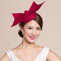 French Women Winter Hat Vogue Wool Felt Fedora Red Bowknot Beret Black Red Wedding Party Ladies Fedora Cap Church Headwear