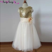 Gold Sequined Flower Girls Dresses 2016 Hand Made Flower Sash Tulle A Line Kids Formal Dress