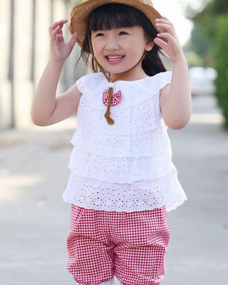 Summer Style Lace T-Shirt And Lattice shorts Pants Children Clothing Set Girl Clothes Sets QL