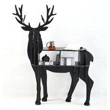 European creative elk deer animal shaped wooden bookcase shelves console table ornament creative home decoration coffee desk