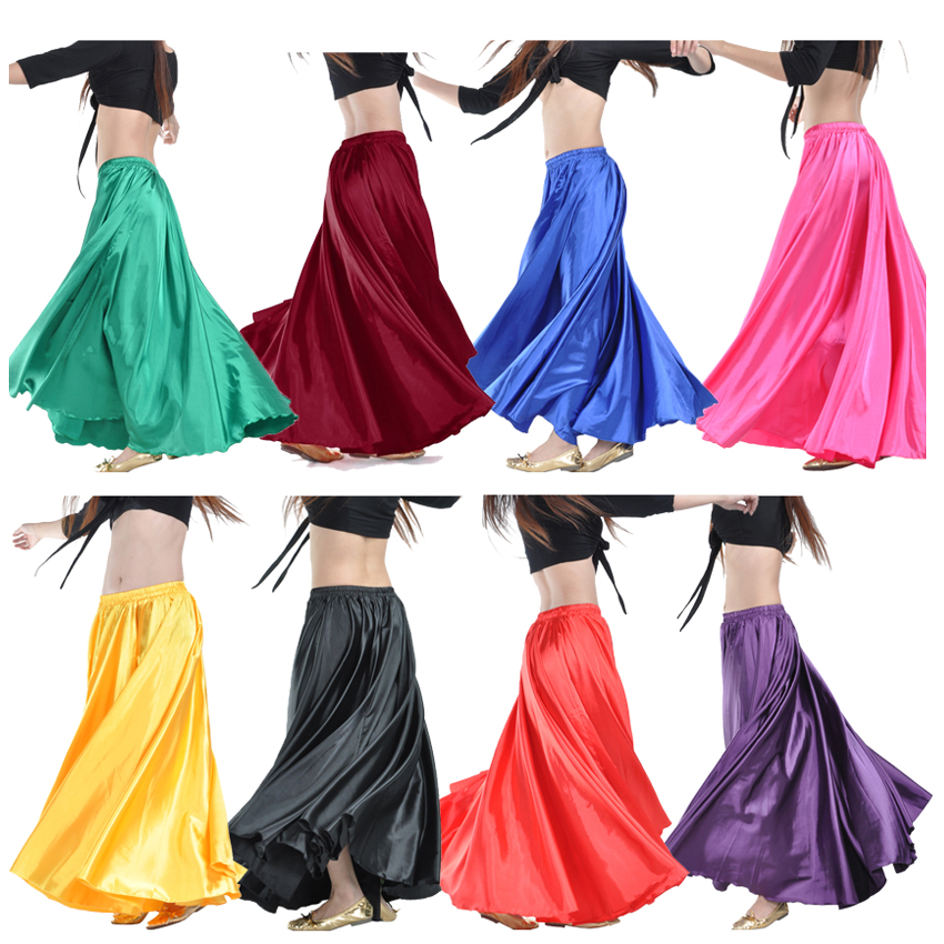 Ankle Length Solid Satin Polyester Spanish Flamenco Skirt Bullfight Festival Wear Gypsy Stage Performance Ballroom Dance Costume