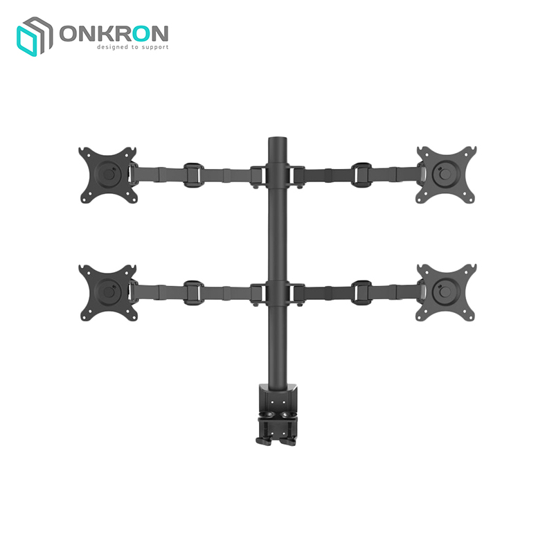 Desktop bracket for 4x monitors ONKRON D421E Black spectral adjustable spikes 4x for he rack