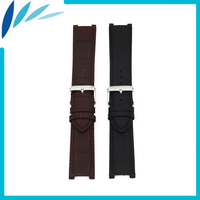 Genuine Leather Watch Band Universal Watchband 22mm X 13mm Bernard Strap Wrist Loop Belt Bracelet Black