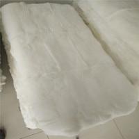 Branco puro 100% genuine rabbit fur rug 50*100 cm, folha de cama de pele de coelho, tamanho duplo colchão de pele, DIY material de pele de coelho