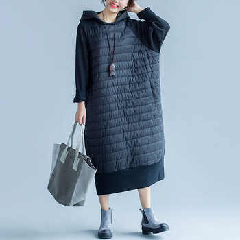 Johnature Women Black Dress Hooded Thick Warm Robe Patchwork 2019 Winter New Vintage Women Clothes Loose Brief Long Sleeve Dress