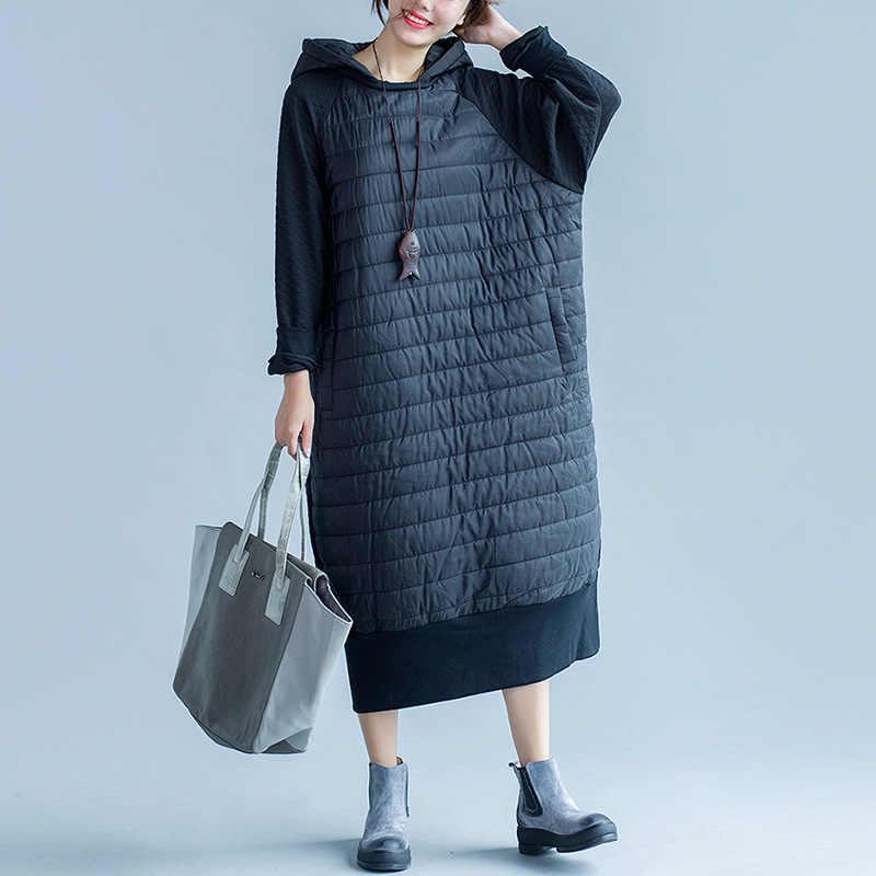 f13a8da8771 Johnature женское черное платье с капюшоном толстые теплый халат пэчворк  2019 Зима Новая Винтажная женская одежда
