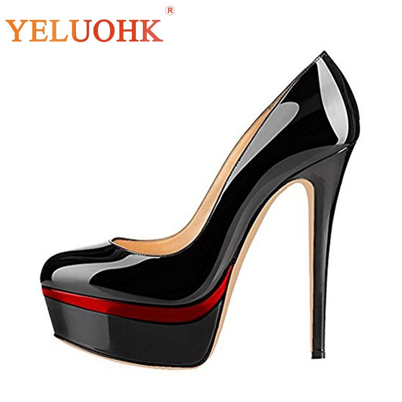 Platform Shoes Women Heels Patent Leather Party Shoes Heel Women 15 CM Sexy Extreme High Heels Big Size 33 43 2018 spring shoes women heels patent leather shoes heel women high quality women pumps high heels big size 5 5 cm page 3