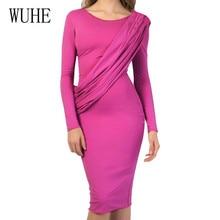 WUHE New Arrivel Ladies Temperament Style Slim Dress Long Sleeve O Neck Elegant Women Autumn Femme Celebrity Banquet Wear