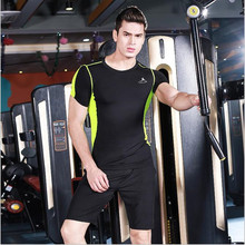 Sports Men's Suits Tight Short sleeves T Shirt + shortsTracksuit Male Basketball Soccer Jersey Training Fitness Running Sets