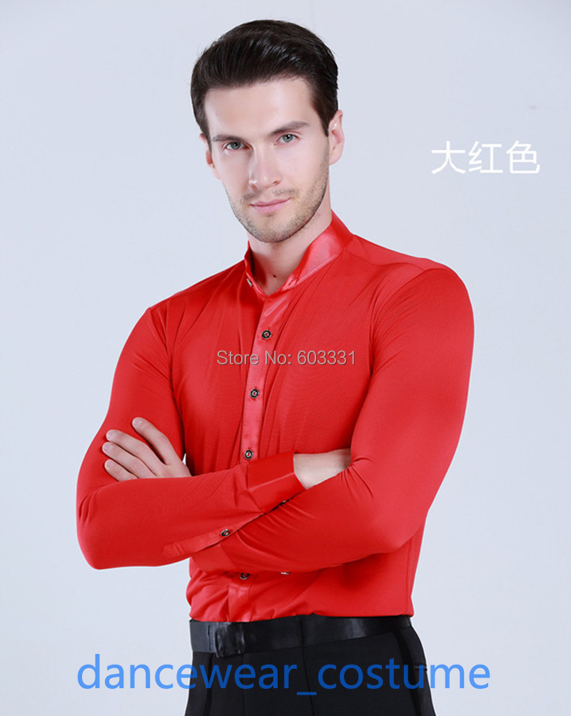 Men Party Ballroom Latin Tango Dress Shirt Rhythm Competition Practice Dance Top