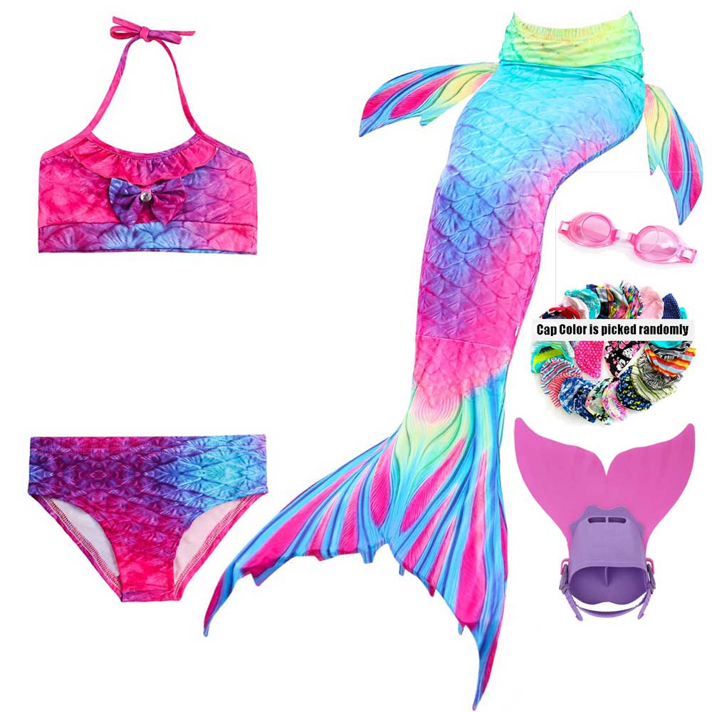 Swimmable Mermaid Tail For Girls Swimsuit Set The Little Of Mermaid Tails For Swimming And Monofin Swimming Caps Glasses