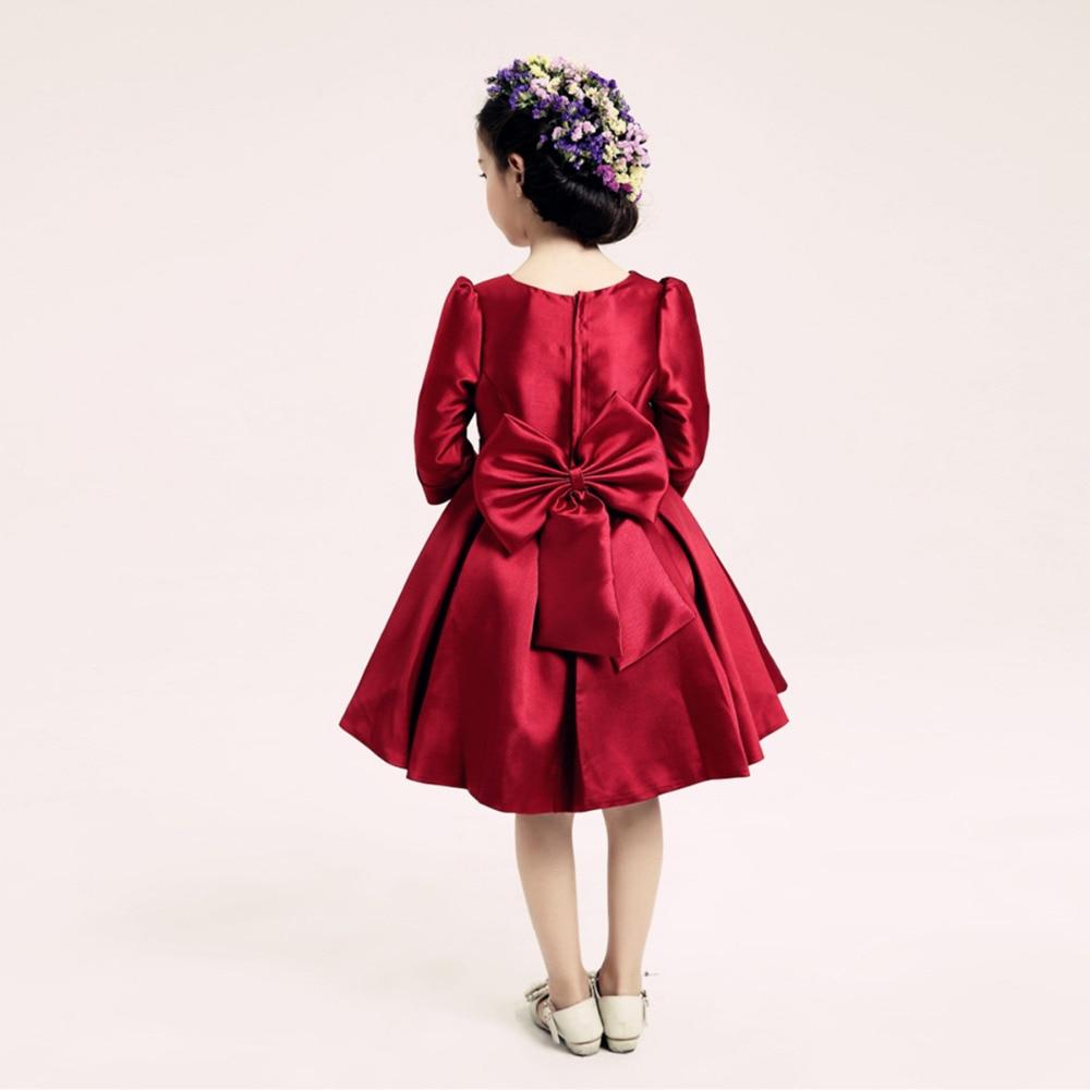 Elegant Kids Formal Dress Toddler Girls Wine Red Princess Dress