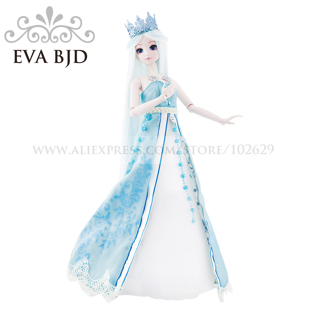 1/4 BJD boneca Boneca 45 cm 18 articulado bonecas Princesa do Gelo Pele Branca (Olhos livres + Cabelo + Maquiagem + Roupa + Sapatos) EVA DA002-10