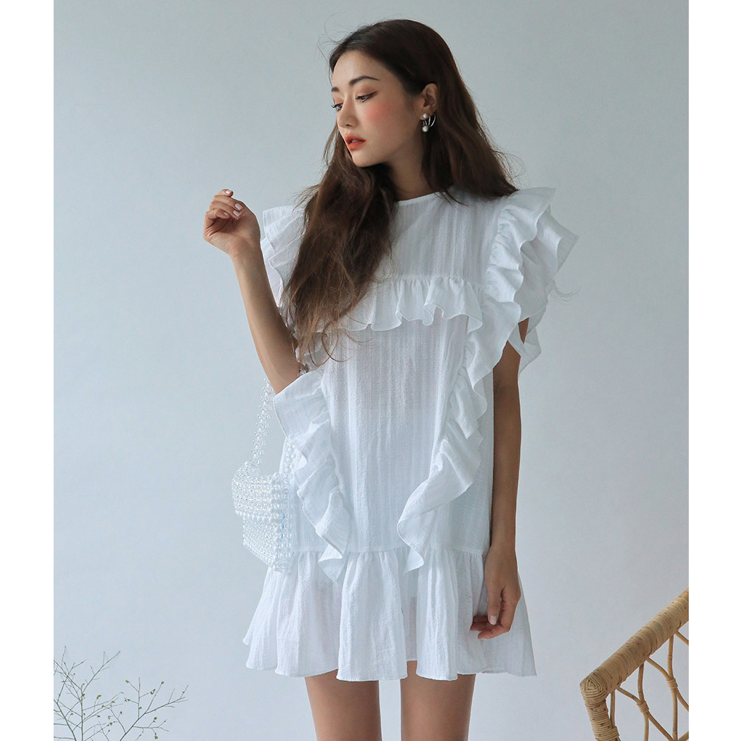 South Korea Stylenanda ruffles dotted dress in same level Hierarchical frilled dress strength training