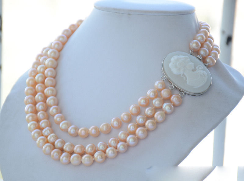 FREE SHIPPING>>>@@ > 3strands 10mm pink round freshwater cultured pearl necklace 19inch 5.27 цена и фото