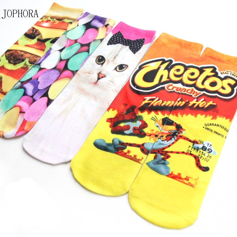 Hot 3D double-sided printed   socks   long models European and American fashion personality animal cartoons couples in   socks