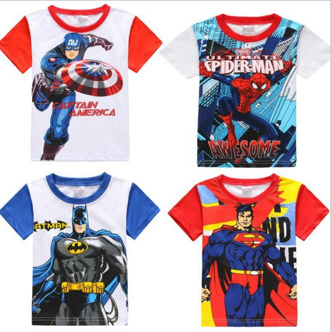 Summer Marvel T-shirt Kids Boy Clothing Avengers Boys T shirt Clothes Captain America Batman Spiderman Superman T shirt Clothing