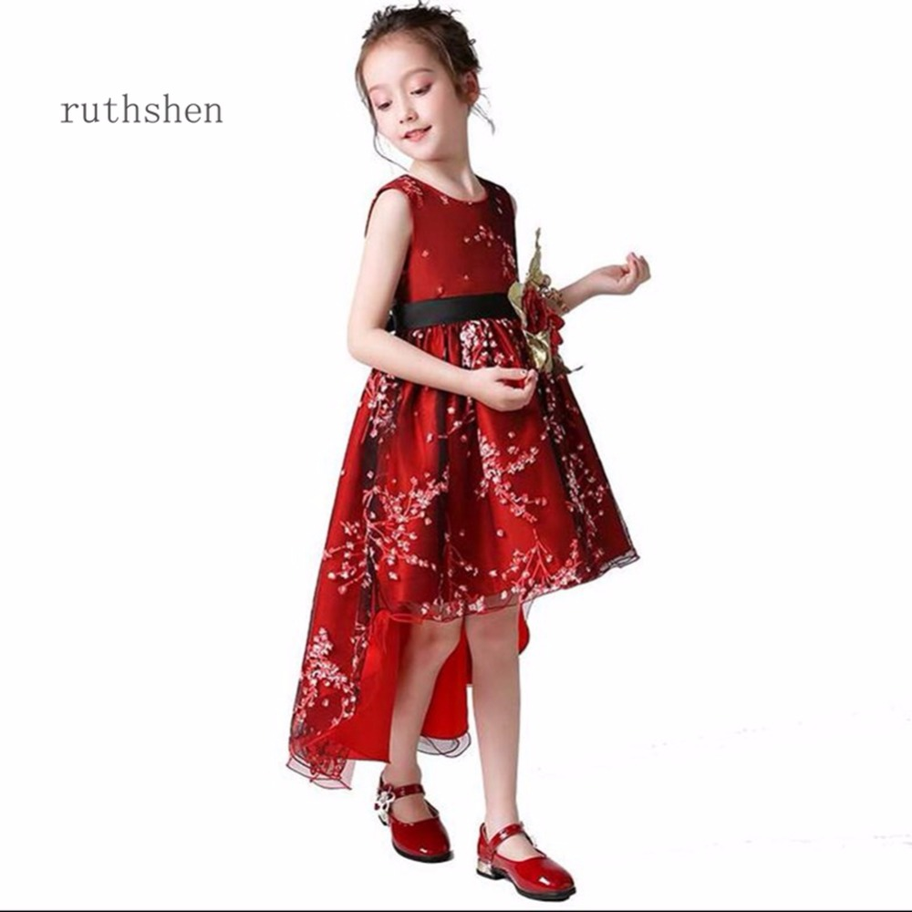 ruthshen 2018 Sweet Princess High Low Sleeveless Bow   Flower     Girl     Dresses   With Sash Cheap Fashion For Wedding Party Kid   Dresses