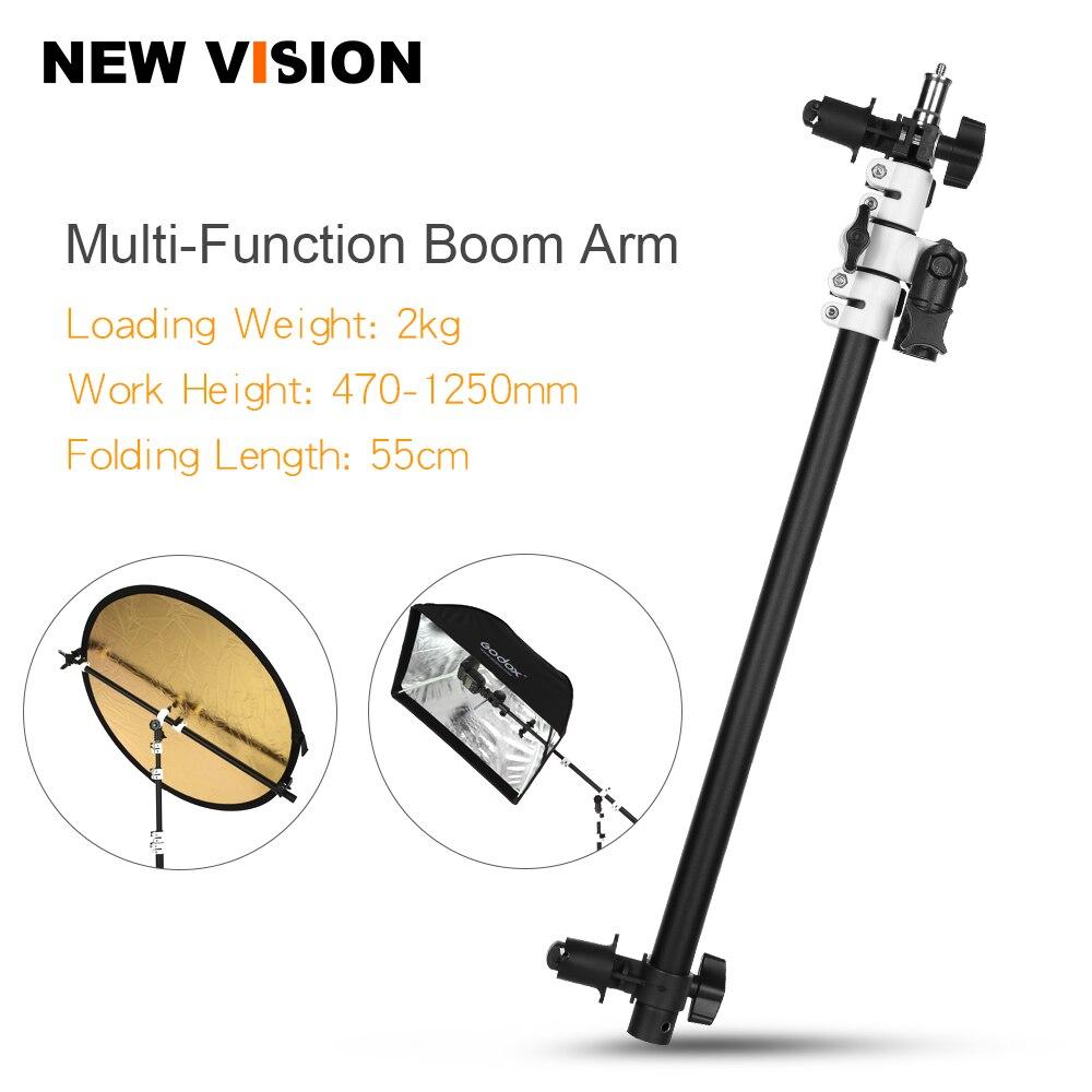 Holder Bracket Swivel Head Reflector Disc Arm Support With Telescopic Boom Arm Top Light Sandbag For Speedlite Mini Flash Strobe