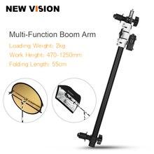 ยึดหัวหมุนแผ่นสะท้อนแสงแขนสนับสนุน Telescopic Boom Arm แสง Sandbag สำหรับ Speedlite แฟลชมินิแฟลช Strobe
